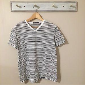 Vince V-Neck Stripped T-Shirt